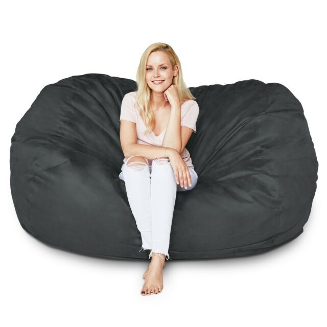 Bean Bag Sofa Lounger Sleeper Chair Relax Seat black Micro-Suede Giant XL  Pillow