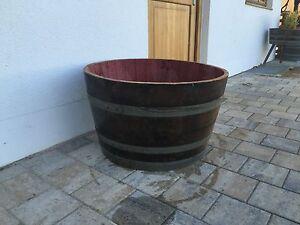 Regentonne-Wasserfass-80cm-Holzfass-Weinfass-Eichenfass-Miniteich-Pflanzkuebel-150-l