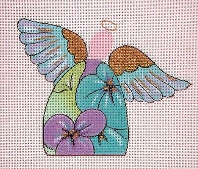 KW 1273 18ct Evangeline Angel Xmas Ornament HP Hand Painted Needlepoint Canvas