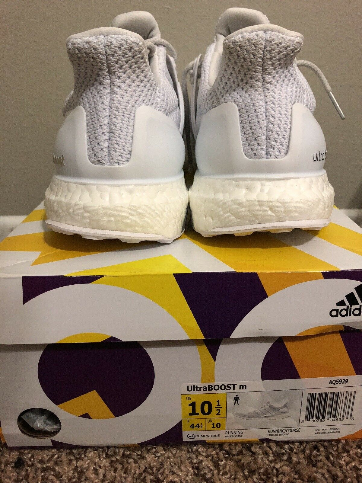 Adidas Ultra Boost Triple White 2.0 White 10.5 Mens
