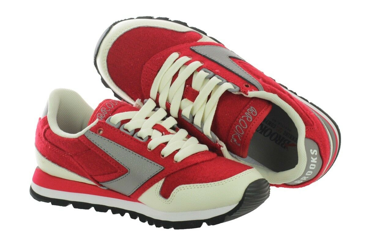 NIB BROOKS HERITAGE MENS CHARIOT 685 RETRO CREAM rot grau Turnschuhe 9-12