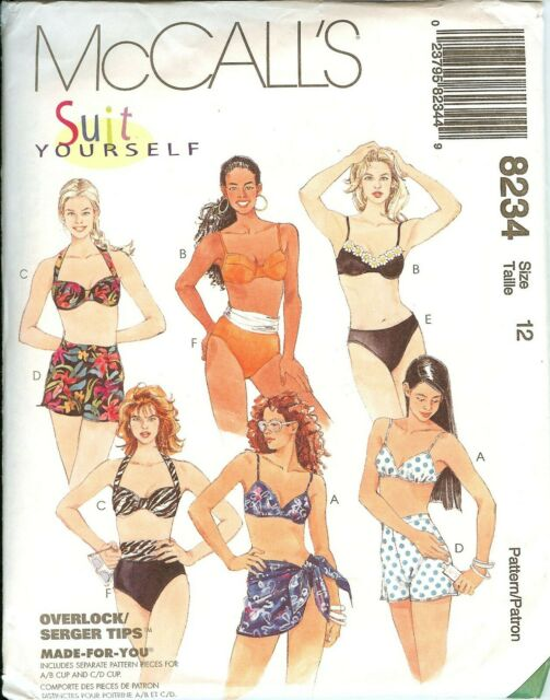 4bc5532fa5 McCalls 8234 Suit Yourself Swimsuits sarong bikinis sewing pattern UNCUT FF  NEW