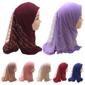 Muslim-Girls-Kids-Hijab-Islam-Headscarf-Mesh-Scarf-Head-Cover-One-Piece-Children