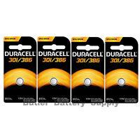 4 X 301/386 Duracell Button Cell Batteries (sr43w, Sr43sw, Sp301, Sp386, Ws10)