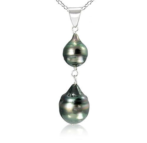 Pendant Necklace Sterling Silver 8-12mm Black Off Shape Tahitian Pearl 18''