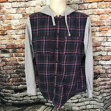 Cotton On 1991 Mens Flannel Hooded Plaid Long Sleeve Shirt Button Up Size Large