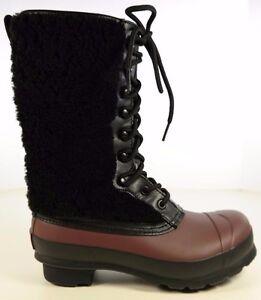 089e295c767  295 HUNTER Genuine Shearling Waterproof Lace Up Rain Boots Women Sz ...