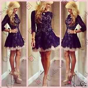 Womens-Sexy-Bodycon-Long-Sleeve-Lace-Short-Mini-Party-Evening-Ladies-Tutu-Dress