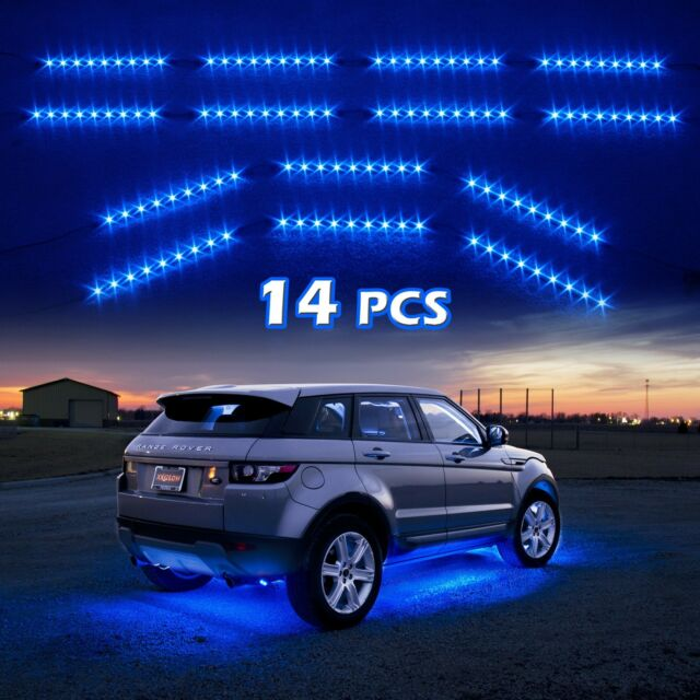14pc Blue Car Truck Underglow Under Body Neon Accent Glow LED Lights Kit 3Mode
