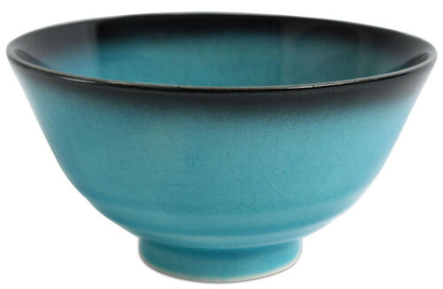 Mino ware Japanese Pottery Rice Bowl BLUE RIVERS Turquoise Blue Crackled