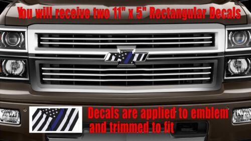 Thin Blue Line Flag Emblem OVERLAY Decals for Chevy Bowtie Emblem 2 U CUT