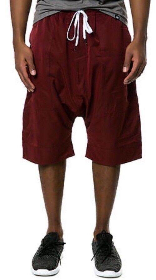 Control Sector Mens Binary Jogger Shorts Burgundy Maroon White Reversible 30 NEW