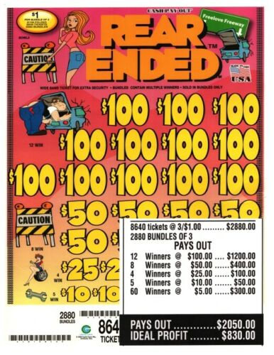 8640ct 3/'s $1 Rear Ended INSTANT JAR TICKET Bingo Pull Tab Tip 12-$100s