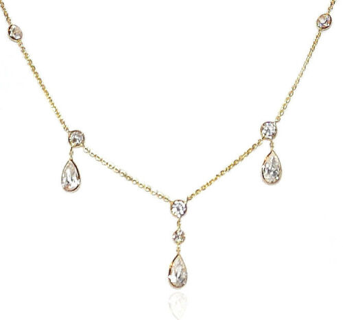 14K Yellow Gold Necklace With Faceted Cubic Zirconia 16 Inches