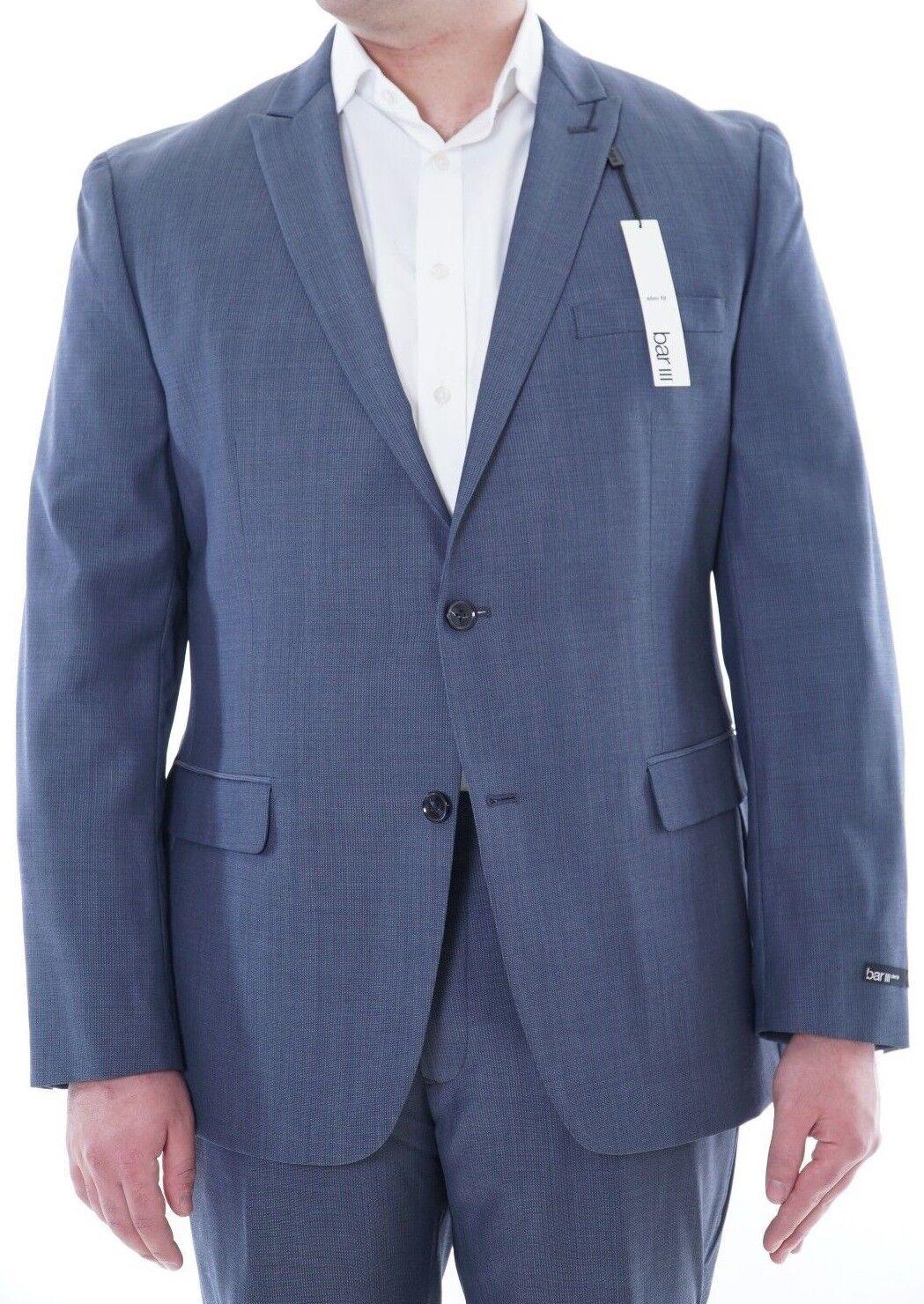 Bar III Slim Fit Mid bluee Striped Wool Blend 2 Button Suit w  Peak Lapels