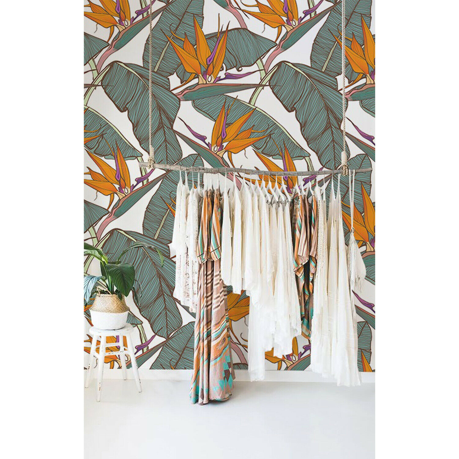 Non-woven wallpaper Paradise Flowers Floral Tropical Wall Covering Mural