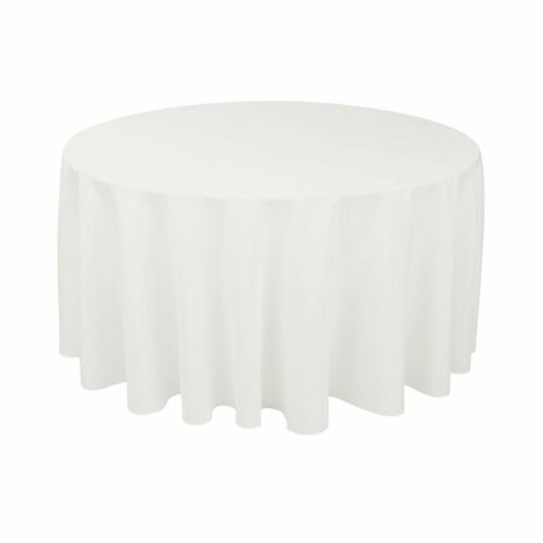 """15 ROUND 120/"""" inch Tablecloth Polyester WEDDING 5/' Ft Feet table cover 25 COLOR"""