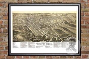 Old Salem Nc Map.Vintage Winston Salem Nc Map 1891 Historic North Carolina Art Old