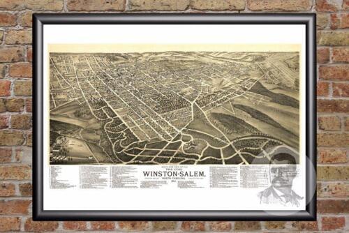 Historic North Carolina Art Old Industrial Vintage Winston-Salem NC Map 1891