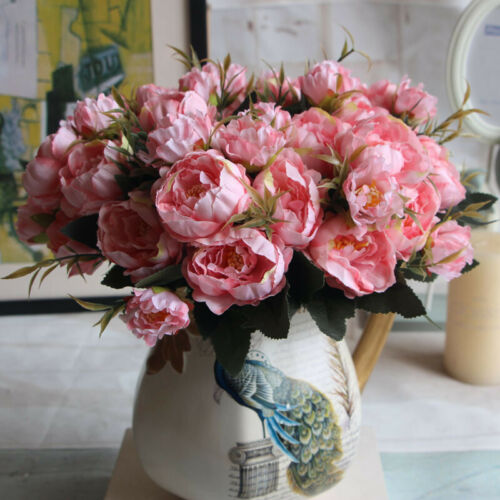 Artificial Fake Flowers Peony Floral Bouquet For Wedding Party Home Decor Prop