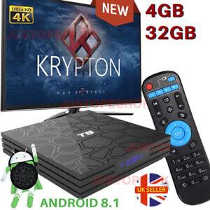 2019 T9 4GB+32GB Android 8.1 TV Box 4K Smart HD Media Player WI-FI Bluetooth NEW 6393851695612