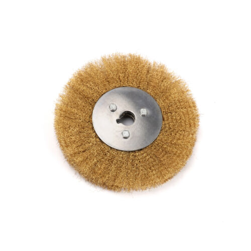 8 Inch Copper Wire Wheel Crimped Flat Brass Brush Bench Grinder Metal Polishing