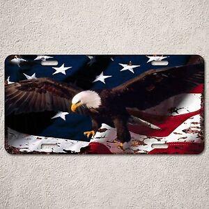 LP0040-Rust-Vintage-Auto-License-Plate-American-Flag-Eagle-Room-Interior-Decor