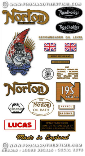 RESTORERS DECAL SETS Variations for all Models 1945-58 Norton 16H 18 19R 19S