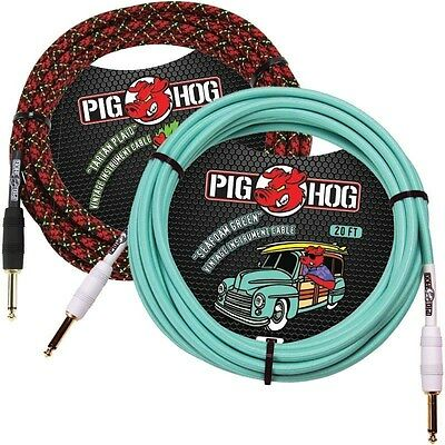 2 PIG HOG 20ft TARTAN PLAID & SEAFOAM GREEN GUITAR PATCH CABLE 1/4 CORD PIGHOG