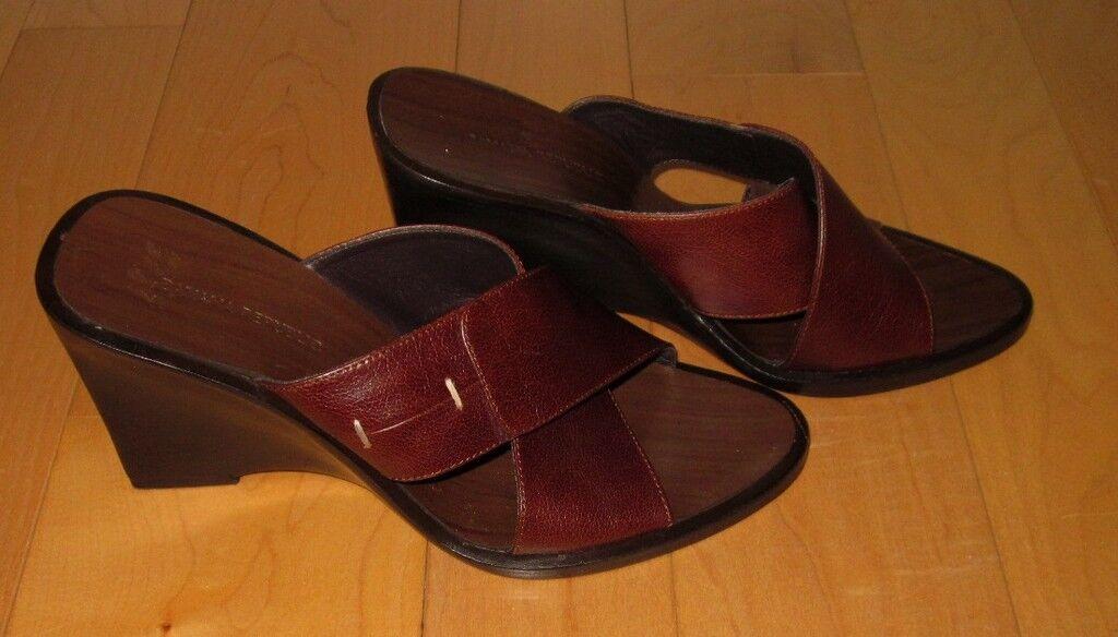 Banana Republic Wms Brown Wedge Sandals 6 Cute Must C