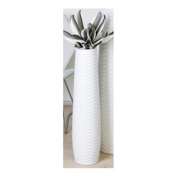 Jarrón de suelo, dekovase Catania cerámica blancoo mate H. 77cm D. 18cm alrojoedor de Casablancoa