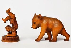 2 Kleine Holz Skulpturen Handgeschnitzt Bär Um 1920 Junge Sign. Hollstein 1947