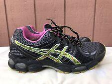 EUC ASICS Gel-Nimbus 14 Running Shoe Black Digital Neon Pink US 8 EUR 39.5 T291N