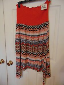 Womens-tunic-dress-size-1x-print-orange-Tube-Top-strapless-geometric-Cover-UP-T9