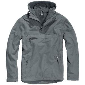 Brandit-Classic-Tactical-Windbreaker-Hooded-Anorak-Mens-Jacket-Anthracite-Grey