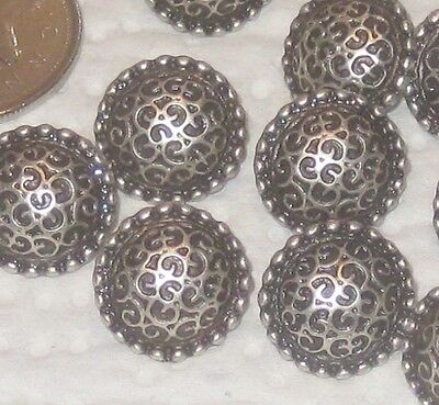 ORNATE Set 12 vintage antiqued SILVER metal fancy SCALLOPED new buttons 16mm 5/8