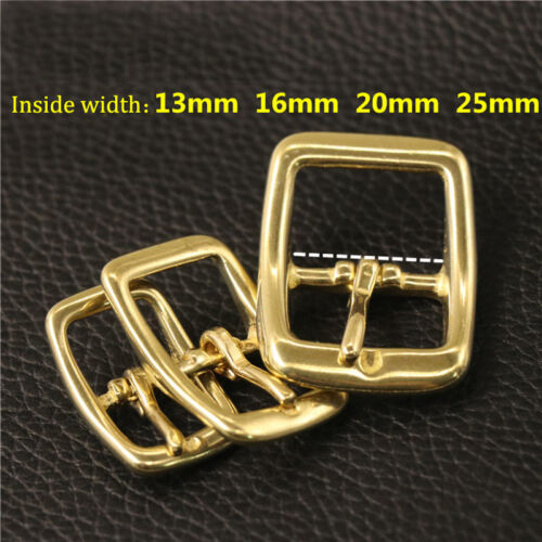 Solid Brass Belt Rectangle Buckle Middle Center Bar Bag Pin Prong Leather Strap
