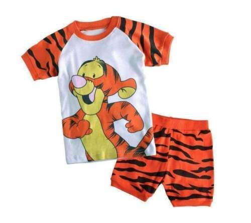 Boys cartoon animals pajamas set Short sleeve sleepwear cotton Breathable pyjama