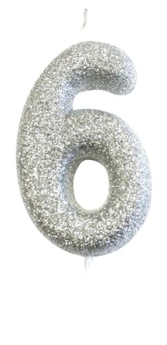 NUMBER CANDLES SILVER GLITTER LARGE SIZE  BIRTHDAY NUMBER CAKE TOPPERS