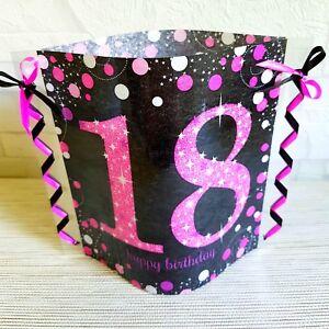 Details Zu Tischdeko Windlicht Aus Servietten 18 Geburtstag Happy Birthday Pink Schwarz