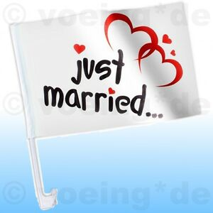 "2x Autofahne /""Just Married/"" Auto Fahne Flagge Liebe Hochzeit Justmarried Love"