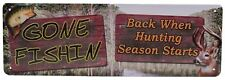 """mfg 1419 Size 10.5/"""" x 3.5/"""" Rivers Edge Tin Sign What Happens At The Cabin"""