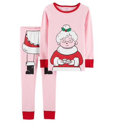 Toddler Christmas Pajamas.Carters Toddler Girl Christmas Pajamas Mrs Claus Size 2t Two Piece Cotton Pj S Ebay