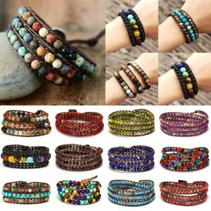Retro-Natural-Stone-Lava-Healing-Chakra-Bead-Bracelet-Rope-Wrap-Bangle-Jewelry