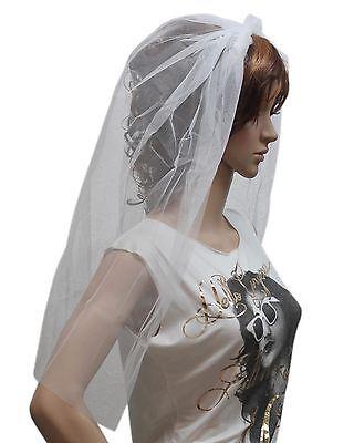 Girls Womens White Pink Alice Band Wedding Veil Hen Night Bride Fancy Dress