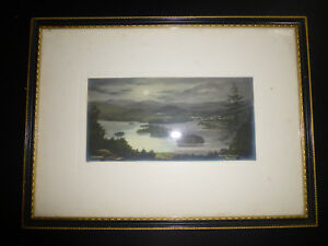 Vtg-Atq-BOWNESS-WINDERMERE-BELLE-ISLE-Lake-District-TINTED-POSTCARD-PHOTO-FRAMED