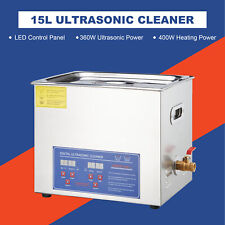 Stainless Steel 15l Liter Industry Ultrasonic Cleaner Heated Heater Timer