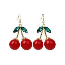 Fashion Crystal Damante Juicy Cherry Stud Drop Dangle Chandelier Earrings