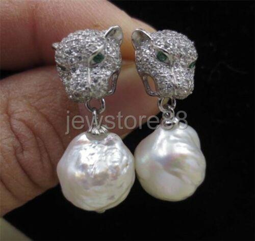 baroque white 12-13mm FURROW Kasumi pearl earring leopard head button