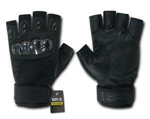 US-Half-Finger-Army-SWAT-Police-Hard-Knuckle-Handschuhe-Gloves-black-S-Small